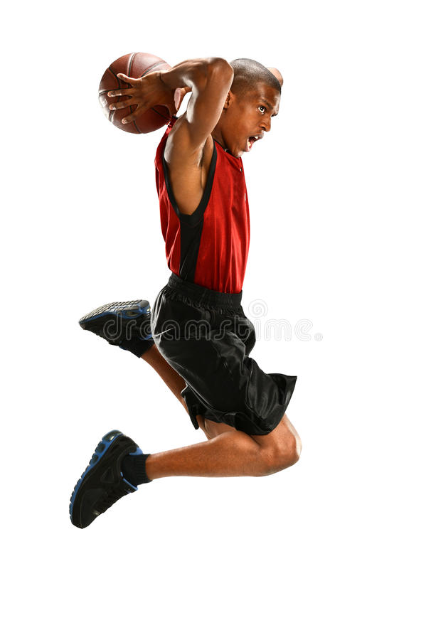 Dunking do jogador de basquetebol foto de stock royalty free