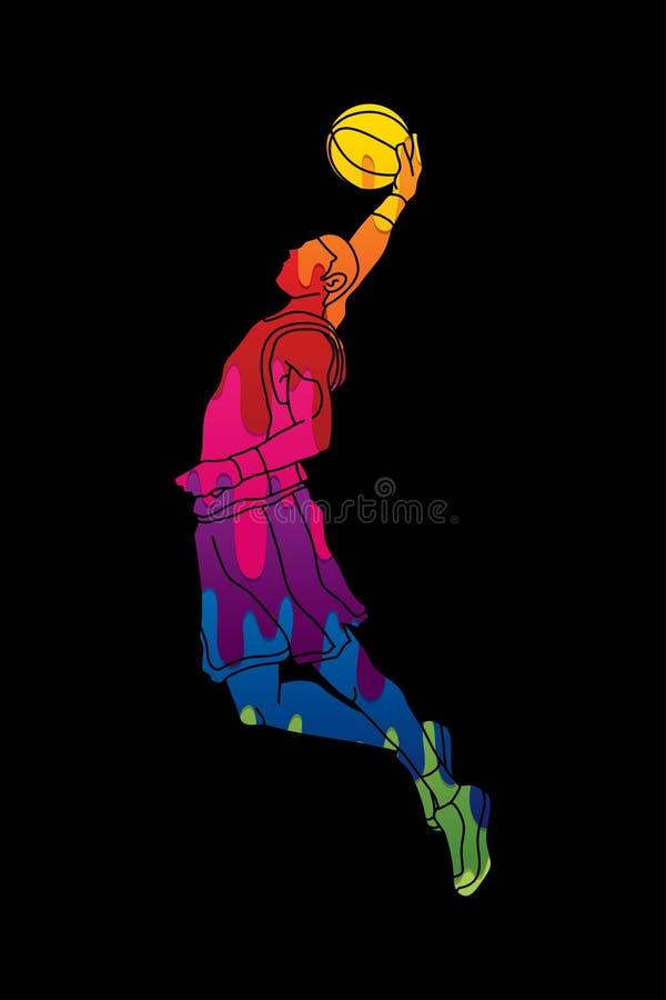 Dunking do jogador de basquetebol ilustração stock