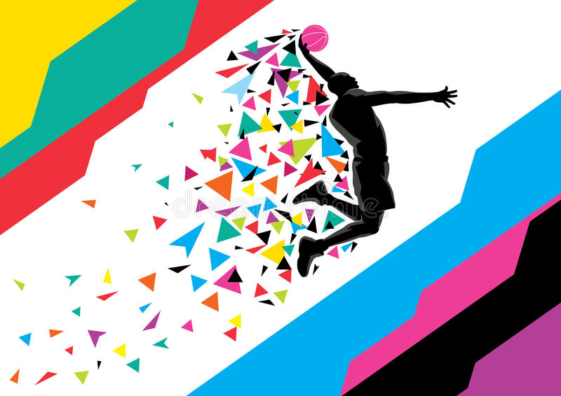 dunking spelare för basket vektor illustrationer