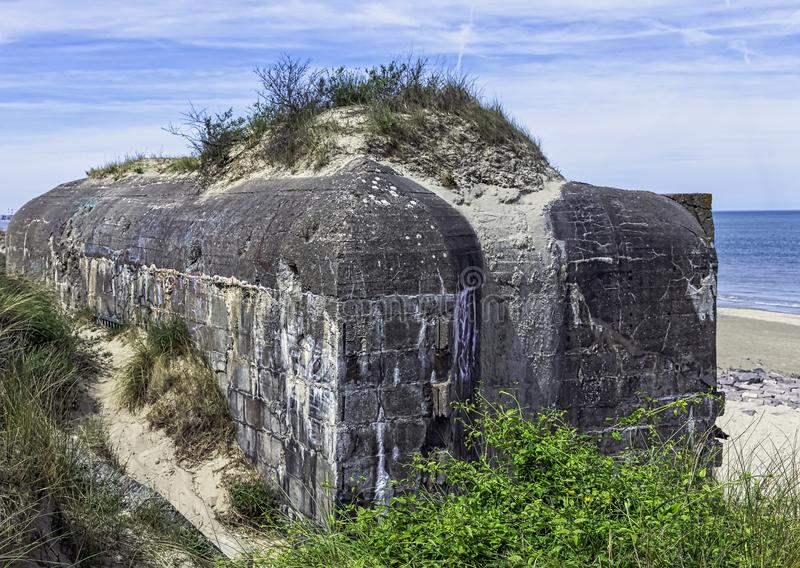 Dunkirk Beaches Bunkers - remains of a WW2 Nazi coastal gun battery, known as M.K.B Malo Terminus. France royalty free stock photos