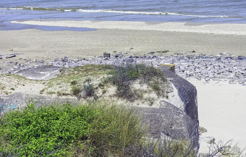 Dunkirk Beaches Bunkers - remains of a WW2 Nazi coastal gun battery, known as M.K.B Malo Terminus. Dunkirk, France stock photography