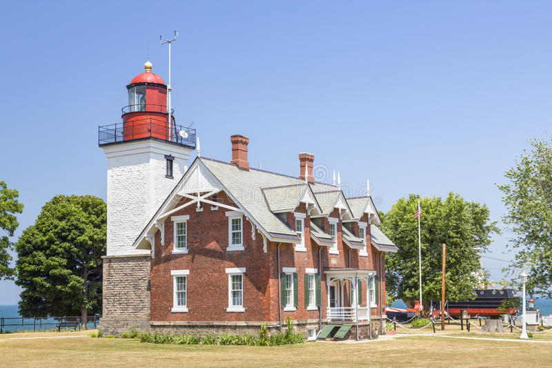 Dunkirk Lighthouse. The Dunkirk Lighthouse, also known as the Point Gratiot Light, shines its beacon over the New York coast of Lake Erie stock photos