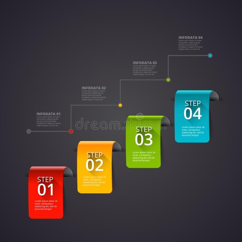 Dunkle abstrakte infographics Zahl-Wahlschablone Auch im corel abgehobenen Betrag Kann für Arbeitsflussplan, -diagramm oder -netz stock abbildung