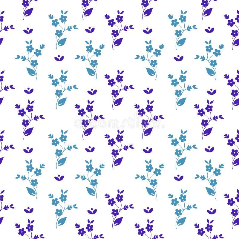 Dunkle des nahtlosen Vektorblumenmusters kleine und hellblaue Blumen in der symmetrischen Anordnung auf weißem Hintergrund, mille lizenzfreie abbildung
