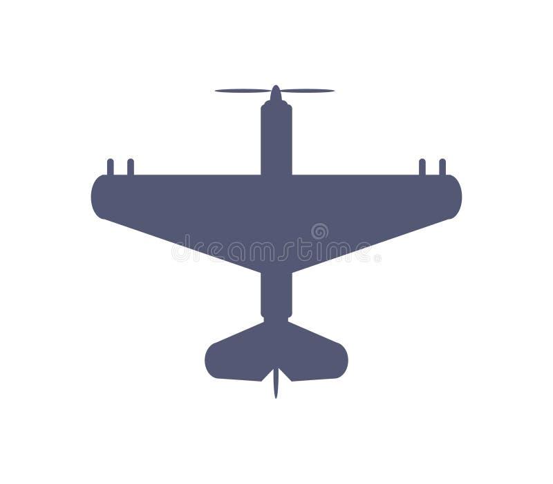 Dunkle einfache Flugzeugikone im flachen Artvektor vektor abbildung