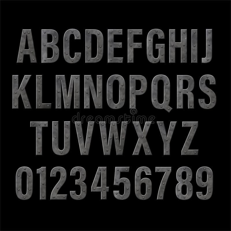 Dunkle Eisenbuchstaben lizenzfreie abbildung