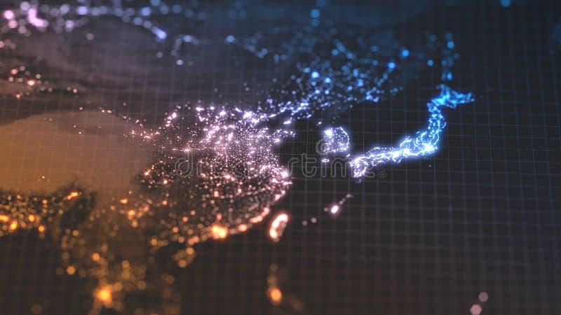 Dunkle Erdkarte mit glühenden Details von Dichtebereichen der Stadt und der menschlichen Bevölkerung wiew von Asien Abbildung 3D stock abbildung
