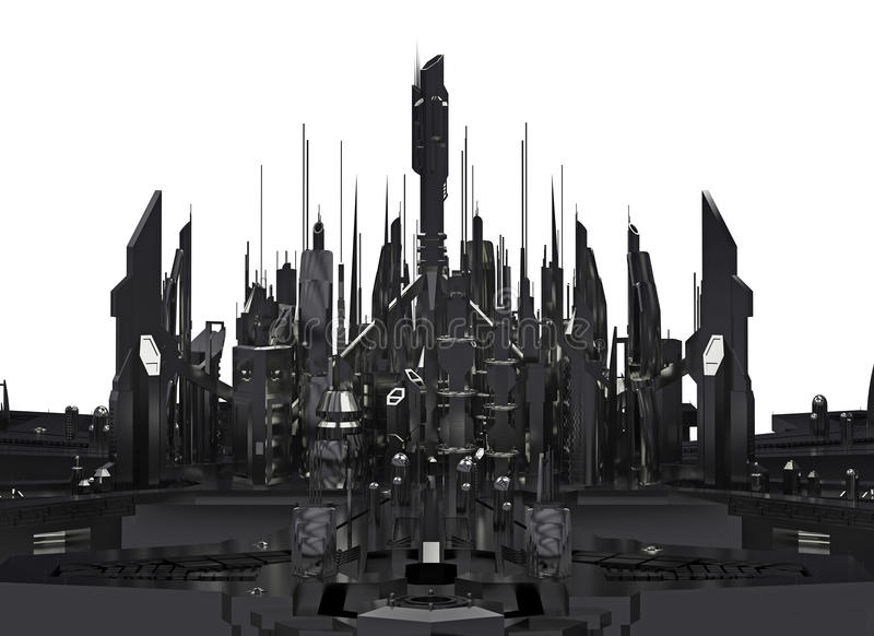 Dunkle futuristische Stadt Wiedergabe 3d stock abbildung