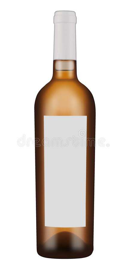 Dunkle Glasflasche für Weißwein lizenzfreies stockbild