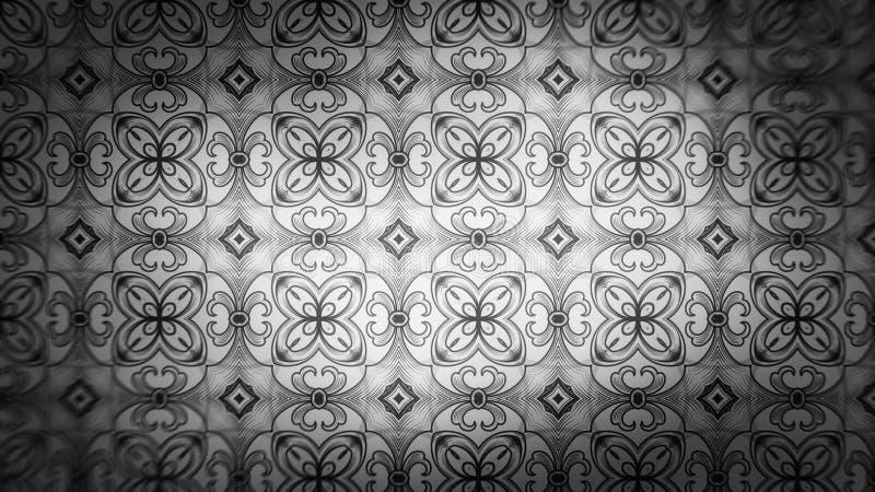 Dunkle Gray Floral Geometric Pattern Background-Schablonen-schöne elegante Illustration vektor abbildung