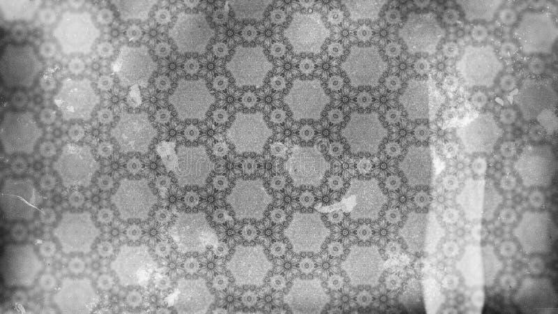 Dunkle Grey Vintage Decorative Floral Ornament-Hintergrund-Muster-Entwurfs-Schablonen-schöne elegante Illustration stock abbildung