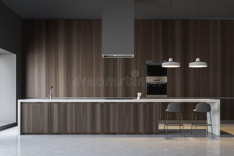 Dunkle hölzerne Küche, Stange und Öfen Minimalistic lizenzfreie abbildung