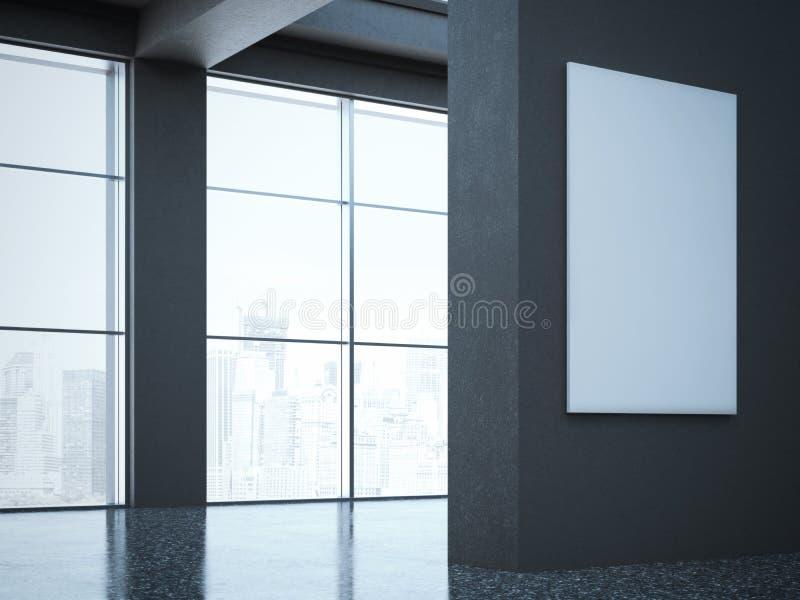 Dunkle Halle in der modernen Galerie Wiedergabe 3d stockfoto