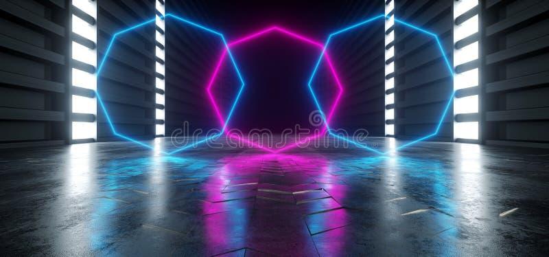 Dunkle Hallen-Korridor-Tunnel-Lager-Untertagegaragen-Schmutz Neonpurpur leert sich der blaue gl?hende futuristische moderne Sci F stock abbildung