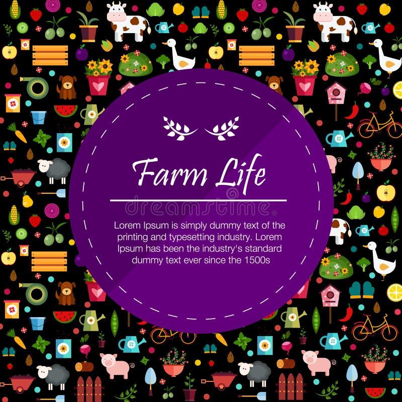 Dunkle Illustration Fahne des Gemüses und der Früchte lizenzfreie stockbilder