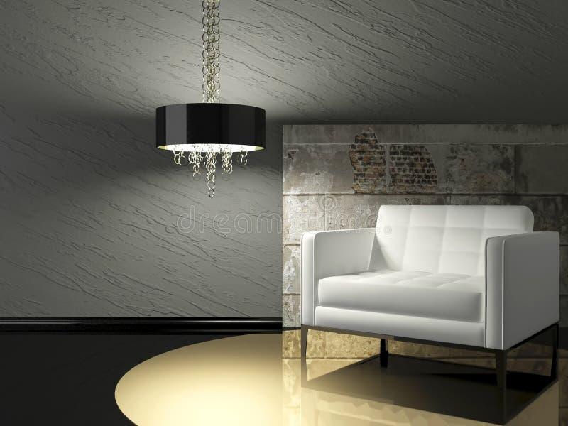 Dunkle Innenarchitektur des modernen Wohnzimmers lizenzfreie abbildung