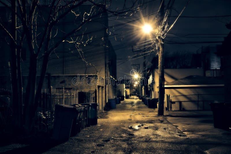 Dunkle, kiesige und nasse Chicago-Gasse nachts nach Regen lizenzfreie stockbilder