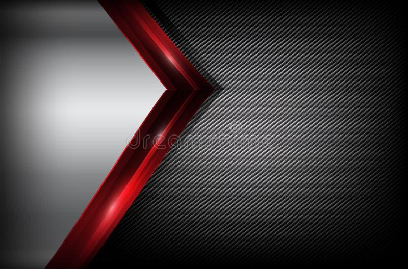 Dunkle Kohlenstofffaser und rotes Deckungselement extrahieren Hintergrund VE vektor abbildung