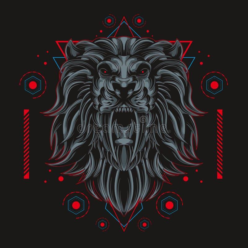 Dunkle Löwekönigillustration stock abbildung