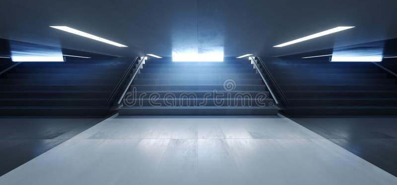 Dunkle leere Untertagetunnel-Korridor-Treppe unterzeichnet Licht-weißer blauer leerer reflektierender Schmutz-konkrete moderne Wi vektor abbildung