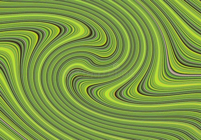 Dunkle Linien der abstrakten Farbe der Hintergrundgrünsteigungslockenbeschaffenheit flüssigen vektor abbildung