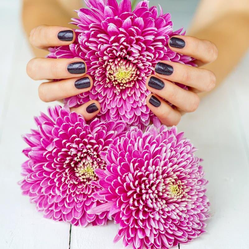 Dunkle Maniküre der Mode und rosa Blumen lizenzfreies stockbild