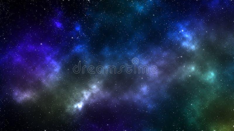 Dunkle mehrfarbige Fahne des Weltraumes, die Wolkenbildung und -planeten zeigt lizenzfreie abbildung