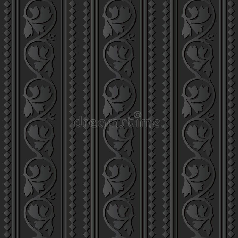 dunkle Papierkunst 3D Kurven-Spiralen-Rebstock-Blatt-Kontrollkreuz-Linie lizenzfreie abbildung