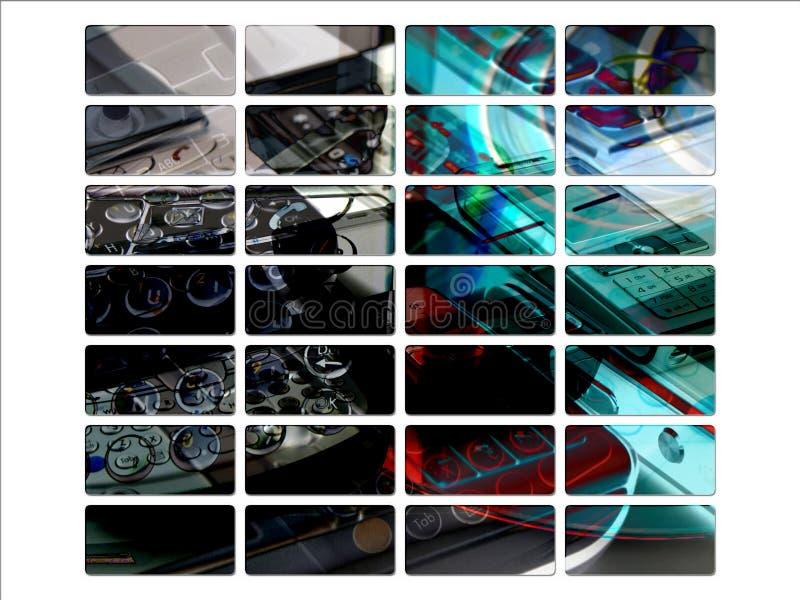 Dunkle PDA mobile Web-Schnittstellen-Site-Tasten lizenzfreie abbildung