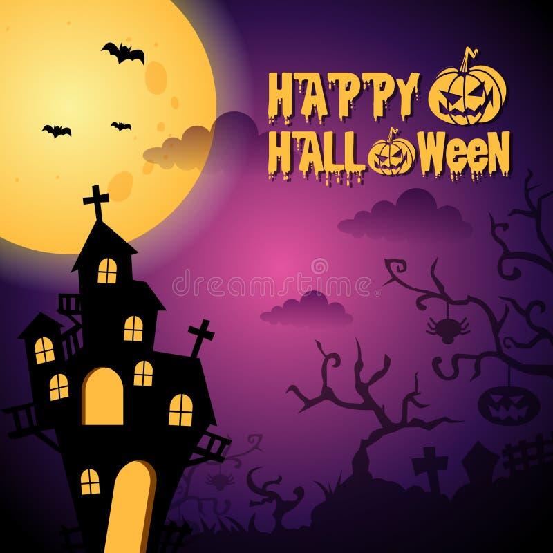 Dunkle purpurrote glückliche Halloween-Hintergrund-Illustration stock abbildung