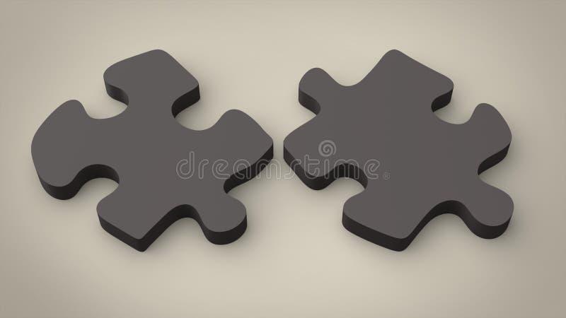 Dunkle Puzzlespielstücke - getrennt stock abbildung