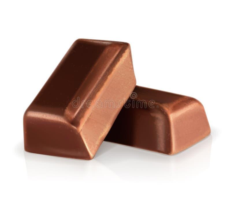 Dunkle Schokoladenstücke lizenzfreie abbildung