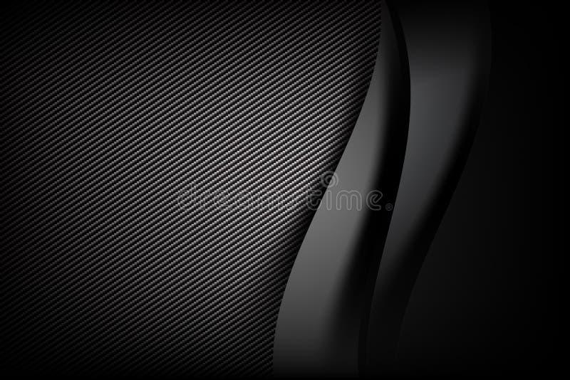 Dunkle und schwarze Kohlenstofffaser des abstrakten Hintergrundes mit Kurve stock abbildung