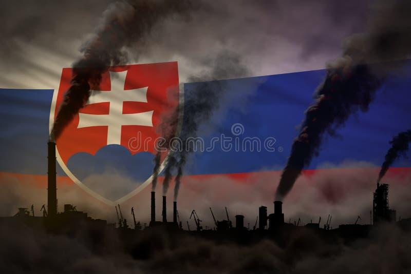 Dunkle Verschmutzung, Kampf gegen Klimawandelkonzept - dichter Rauch der Betriebsrohre auf Slowakei-Flaggenhintergrund - industri lizenzfreie abbildung