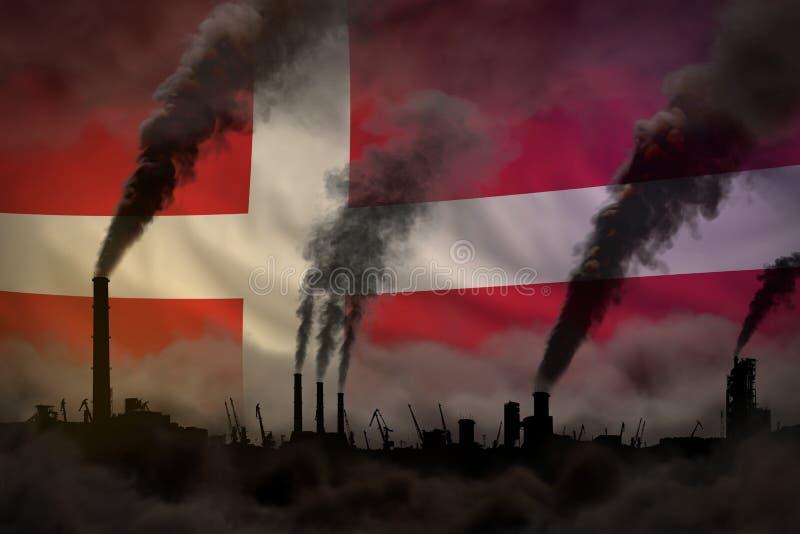 Dunkle Verschmutzung, Kampf gegen Klimawandelkonzept - dichter Rauch der Fabrikrohre auf Dänemark-Flaggenhintergrund - industriel vektor abbildung