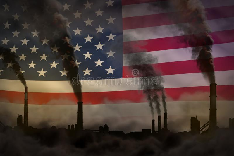 Dunkle Verschmutzung, Kampf gegen Klimawandelkonzept - Industrie leitet schweren Rauch auf USA-Flaggenhintergrund - industrielles stock abbildung
