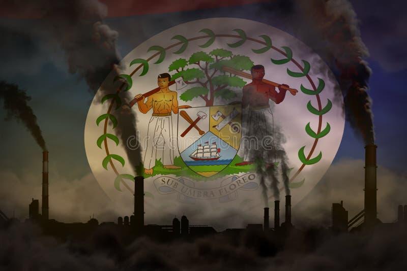 Dunkle Verschmutzung, Kampf gegen Klimawandelkonzept - industrielle Illustration 3D des dichten Rauches der Betriebsrohre auf Bel stock abbildung