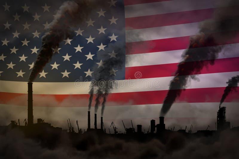 Dunkle Verschmutzung, Kampf gegen Klimawandelkonzept - industrielle Illustration 3D des dichten Rauches der Fabrikkamine auf USA- lizenzfreie abbildung