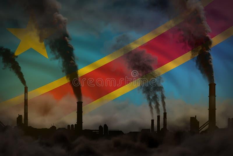 Dunkle Verschmutzung, Kampf gegen Klimawandelkonzept - industrielle Illustration 3D des schweren Rauches der Betriebsrohre auf de stock abbildung