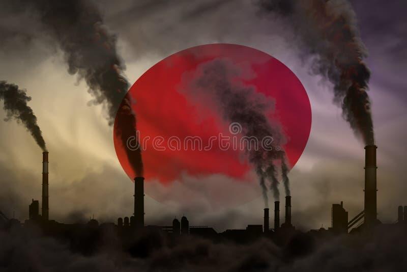 Dunkle Verschmutzung, Kampf gegen Klimawandelkonzept - industrielle Illustration 3D des schweren Rauches der Betriebsrohre auf Ja vektor abbildung