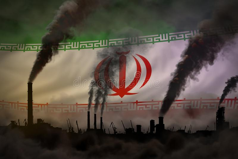 Dunkle Verschmutzung, Kampf gegen Klimawandelkonzept - industrielle Illustration 3D des schweren Rauches der Fabrikkamine auf der lizenzfreie abbildung