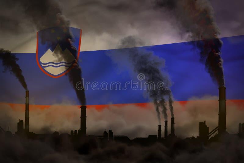 Dunkle Verschmutzung, Kampf gegen Klimawandelkonzept - industrielle Illustration 3D des schweren Rauches der Fabrikrohre auf Slow stock abbildung
