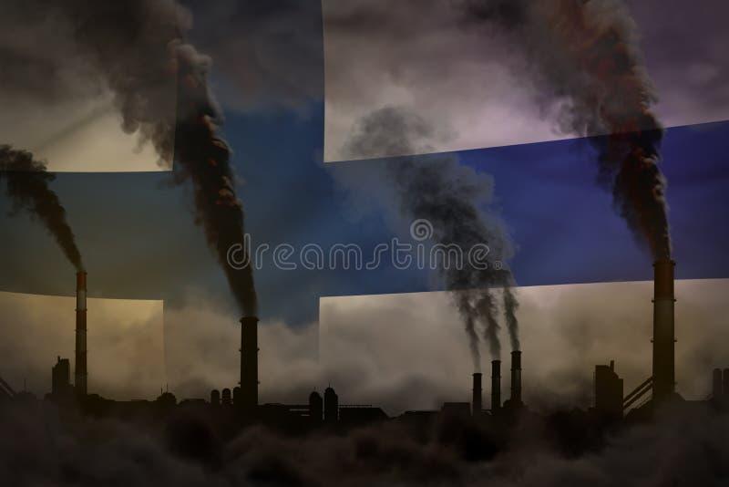 Dunkle Verschmutzung, Kampf gegen Klimawandelkonzept - industrielle Illustration 3D des schweren Rauches der Industriekamine auf  lizenzfreie abbildung