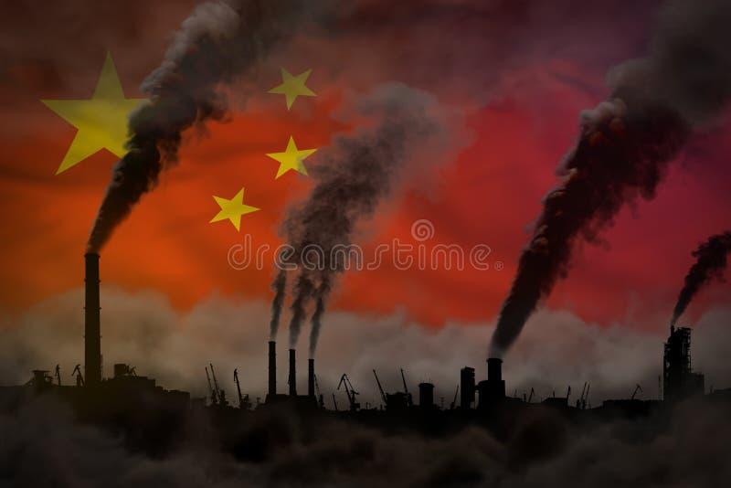 Dunkle Verschmutzung, Kampf gegen Klimawandelkonzept - industrielle Illustration 3D des schweren Rauches der Industriekamine auf  stock abbildung