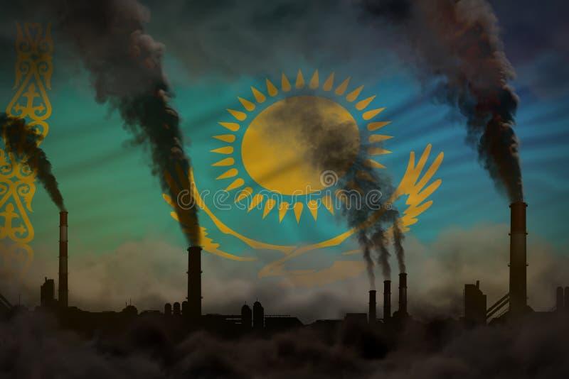 Dunkle Verschmutzung, Kampf gegen Klimawandelkonzept - schwerer Rauch der Fabrikkamine auf Kasachstan-Flaggenhintergrund - indust vektor abbildung
