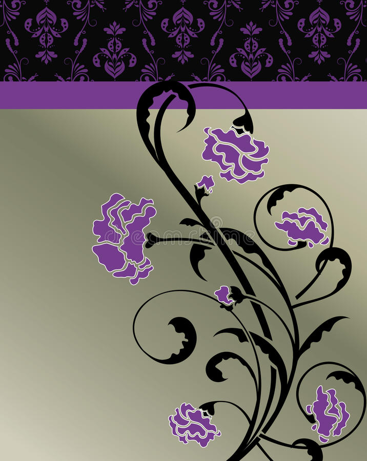 Dunkle Violet Floral Invitation Card lizenzfreie abbildung