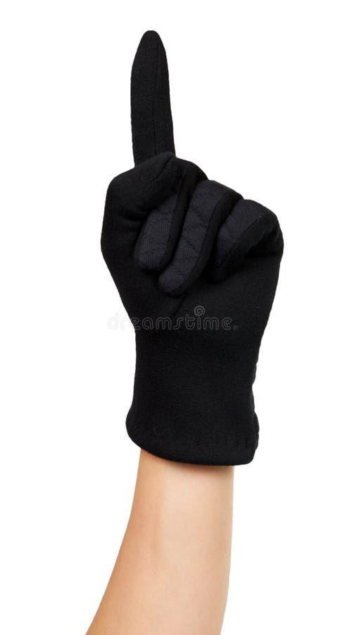 Dunkle Vlies-Handschuhe Winterzubehör isoliert stockfotos