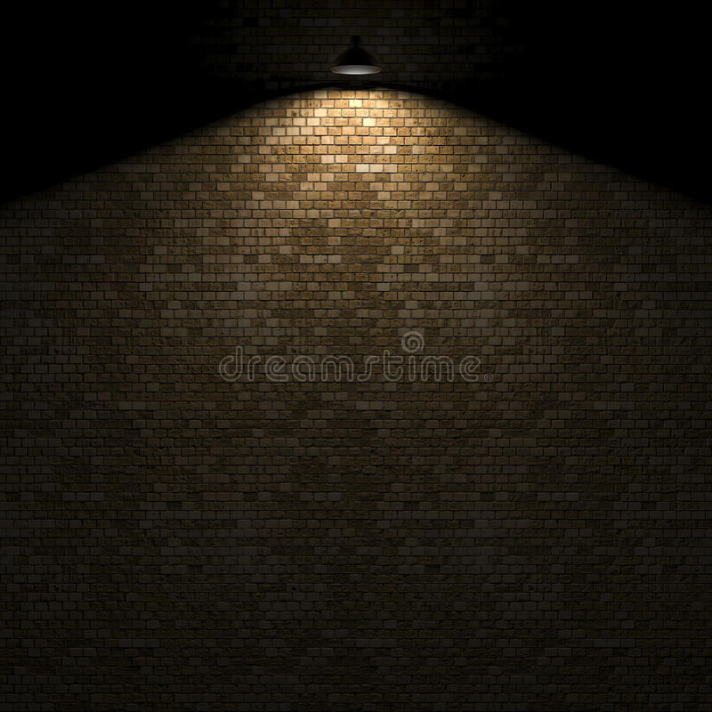 Dunkle Wand mit Lampe über Wiedergabe 3d stock abbildung