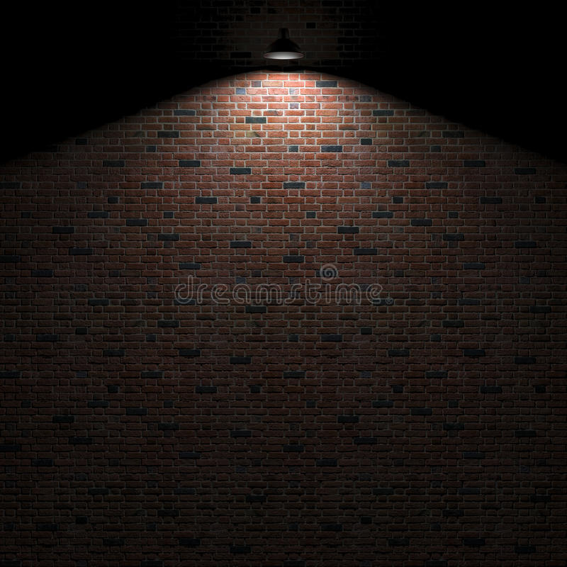 Dunkle Wand mit Lampe über Wiedergabe 3d vektor abbildung