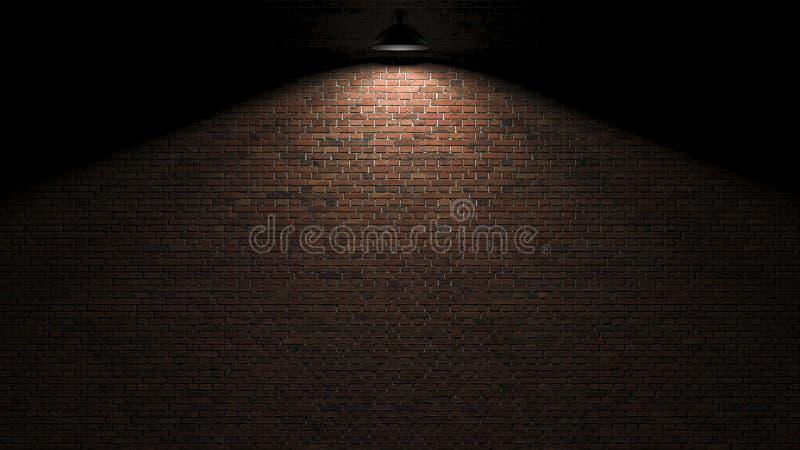 Dunkle Wand mit Lampe über Wiedergabe 3d lizenzfreie abbildung